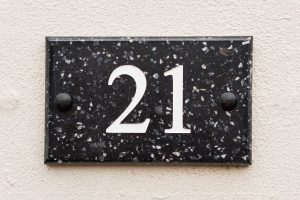 House number plaques engraved in Corian